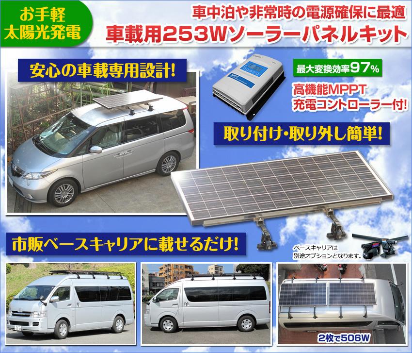 車載用 245W ソーラーパネルキット!