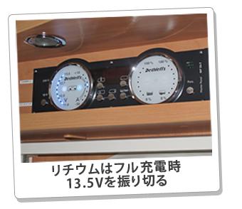 リチウムはフル充電時13.5Vを振り切る